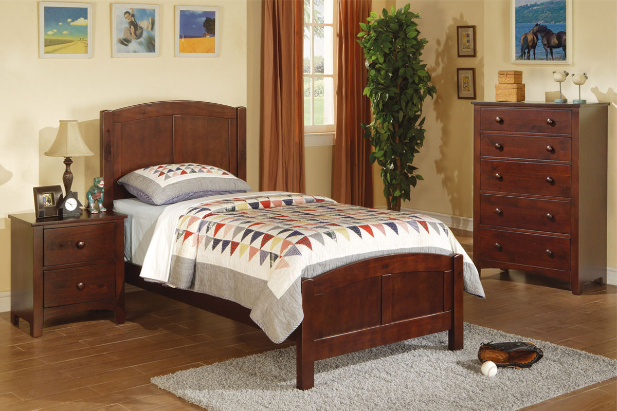 Twin Wood Bed F9049 Color White Furniture Mattress Los Angeles