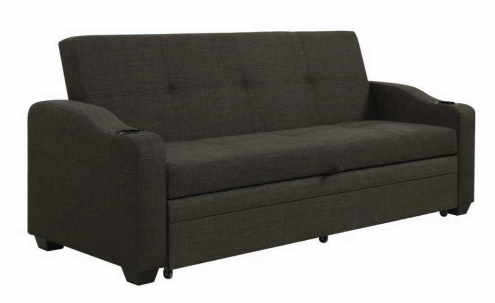 Upholstered Sofa Bed With Sleeper Charcoal Grey 360063 ...