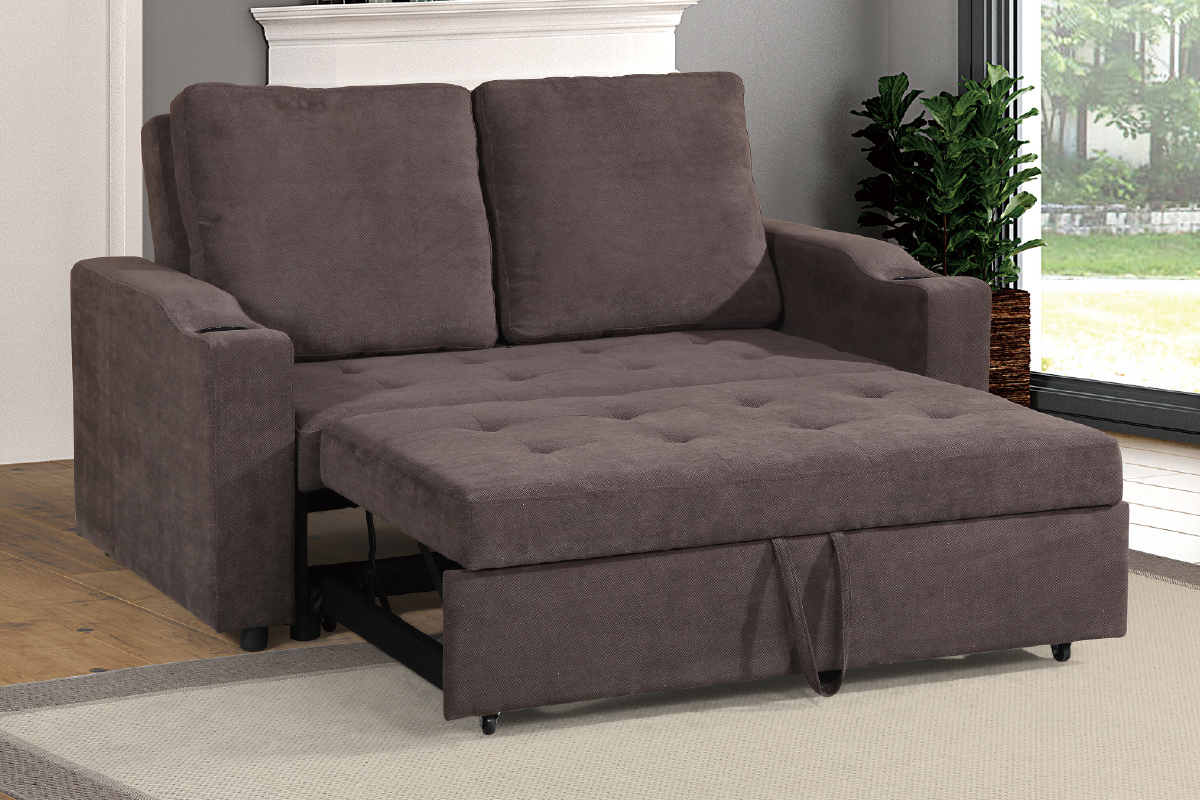 Picture of: Convertible Sofa Compact F6580 Cappuccino Furniture Mattress Los Angeles And El Monte